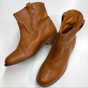Madewell Otis cognac leather ankle boots (7.5)